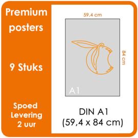 A1 Posters - Premium posters.   Print Formaat: 840mm x 594mm.  Posterpapier: photo paper mat 200 gm²  [9 STUK]