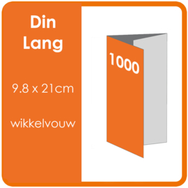 Folders, eindformaat: Din Lang 9.8 x 21cm. vouwwijze: Wikkelvouw 6-zijdig. bedrukking: dubbelzijdig full colour. Aantal: 1,000 st.
