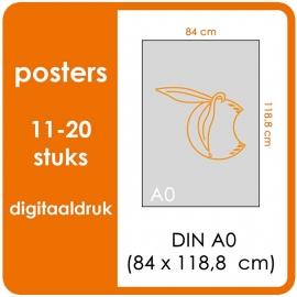 A0 Posters - prijsgroep voor 11 t/m 20 stuks. Print Formaat: 840mm x 1189mm. Posterpapier: PrimeArt Semi-Gloss 200 gm² (Prijs Per stuk)