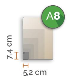 A8 Vinyl stickers min. 16 stuks (5,2 cm x 7,4 cm)