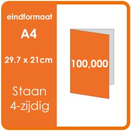 Folders, eindformaat: A4 29.7 x 21cm. vouwwijze: Staand 4-zijdig. materiaal: 135gr. Aantal: 100,000 st.