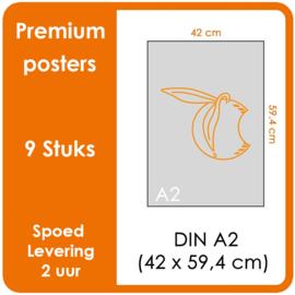 A2 Posters - Premium posters.   Print Formaat: 420mm x 594mm.  Posterpapier: photo paper mat 200 gm²  [9 STUK]