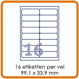 Zelfklevende etiketten op A4 - 16 Etiketten per vel (99,1 x 33,9 mm) wit