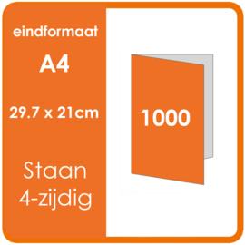 Folders, eindformaat: A4 29.7 x 21cm. vouwwijze: Staand 4-zijdig materiaal: 135gr. Aantal: 1000 st.