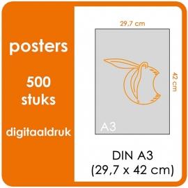 A3 Posters - prijs voor 500 stuks. Print Formaat: 420mm x 297mm.papier: DCP Wit 160 gm² (Prijs Per pack. Print in Full color)