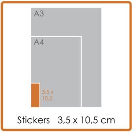 Koude- en warmtebestendige stickers, 3,5 x 10,5 cm, full colour, enkelzijdig bedrukt