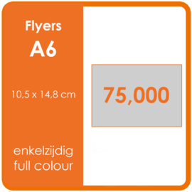 Formaat A6 (10,5 x 14,8 cm) 300gr, offset enkelzijdig full colour,  75.000 stuks.