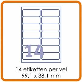 Zelfklevende etiketten op A4 - 14 Etiketten per vel (99,1 x 38,1 mm) wit
