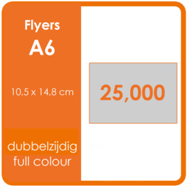 Formaat A6 (10,5 x 14,8 cm) 135gr, offset dubbelzijdig full colour,  25.000 stuks.