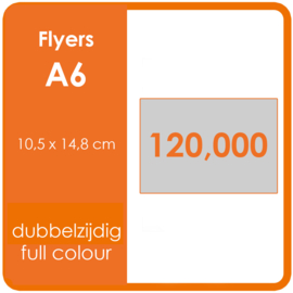Formaat A6 (10,5 x 14,8 cm) 170gr, offset dubbelzijdig full colour, 120.000 stuks.