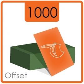 Visitekaartjes klassiek  -  formaat 8,5 x 5,5 cm  -  enkelzijdig  4/0 Kleur -  Materiaal 350g druk mat  - 1000 Stuks.