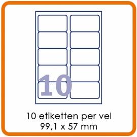 Zelfklevende etiketten op A4 - 10 Etiketten per vel (99,1 x 57 mm)  Wit