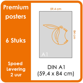 A1 Posters - Premium posters.   Print Formaat: 840mm x 594mm.  Posterpapier: photo paper mat 200 gm²  [6 STUK]