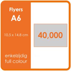 Formaat A6 (10,5 x 14,8 cm) 135gr, offset enkelzijdig full colour,  40.000 stuks.