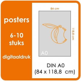 A0 Posters - prijsgroep voor 6 t/m 10 stuks. Print Formaat: 840mm x 1189mm. Posterpapier: PrimeArt Semi-Gloss 200 gm² (Prijs Per stuk)