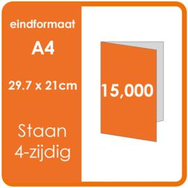 Folders, eindformaat: A4 29.7 x 21cm. vouwwijze: Staand 4-zijdig. materiaal: 135gr. Aantal: 15,000 st.