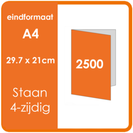 Folders, eindformaat: A4 29.7 x 21cm. vouwwijze: Staand 4-zijdig. . materiaal: 135gr. Aantal: 2500 st.