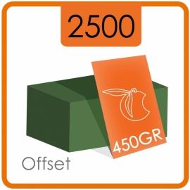 2500 Visitekaartjes - 450gr. - dubbelzijdig full colour met dispersielak