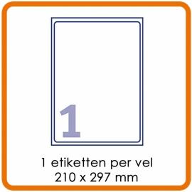 Zelfklevende etiketten op A4 - 1 Etiket per vel (210 x 297 mm)  Wit