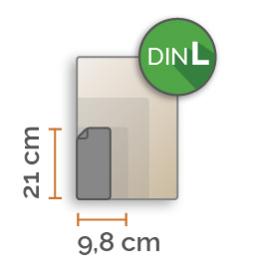 DIN lang Vinyl stickers min. 3 stuks (9,8 cm x 21,0 cm)