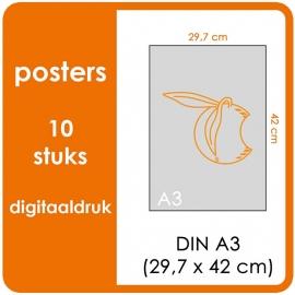 A3 Posters - prijs voor 10 stuks. Print Formaat: 420mm x 297mm.papier: DCP Wit 160 gm² (Prijs Per pack. Print in Full color)