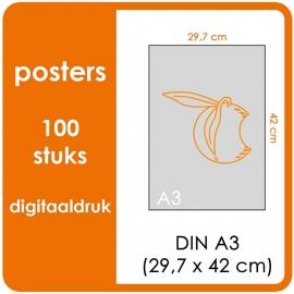 A3 Posters - prijs voor 100 stuks. Print Formaat: 420mm x 297mm.papier: DCP Wit 160 gm² (Prijs Per pack. Print in Full color)