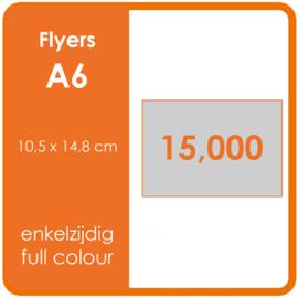 Formaat A6 (10,5 x 14,8 cm) 135gr, offset enkelzijdig full colour,  15.000 stuks.