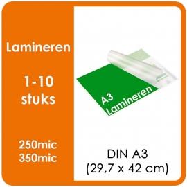 Lamineren (plastificeren) Formaat A3 | 297 x 420 mm Uitvoering : dubbelzijdig glans of mat. Prijs Per stuk, Prijs exclusief drukwerk. prijsgroep voor 1 - 10 stuks.