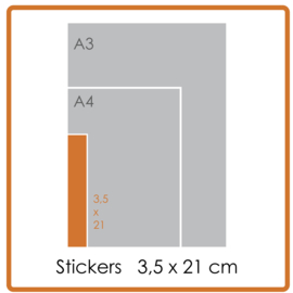 Koude- en warmtebestendige stickers, 3,5 x 21 cm, full colour, enkelzijdig bedrukt