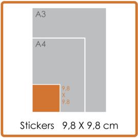 Koude- en warmtebestendige stickers, vierkant (9,8 x 9,8 cm), full colour, enkelzijdig bedrukt