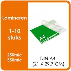 Lamineren (plastificeren) Formaat A4 | 297 x 210 mm Uitvoering : dubbelzijdig glans of mat. Prijs Per stuk, Prijs exclusief drukwerk. prijsgroep voor 1 - 10 stuks.