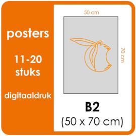 B2 Posters - prijsgroep voor 11 t/m 20 stuks. Print Formaat: 500mm x 700mm. Posterpapier: PrimeArt Semi-Gloss 200 gm² (Prijs Per stuk)