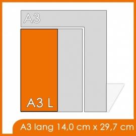 1000X A3 Lang 14x29.7cm offset enkelzijdig full colour 135gr. glans