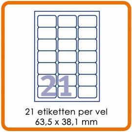 21 Etiketten per vel (63,5 x 38,1 mm)