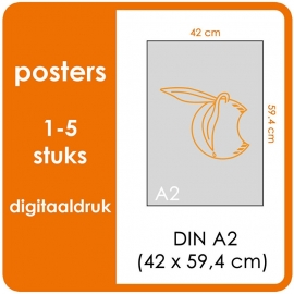A2 Posters - prijsgroep voor 1 t/m 5 stuks. Print Formaat: 590mm x 420mm. Posterpapier: PrimeArt Semi-Gloss 200 gm² (Prijs Per stuk)