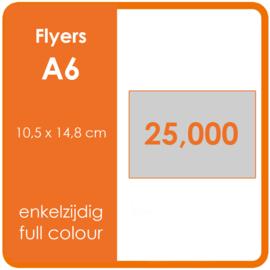 Formaat A6 (10,5 x 14,8 cm) 135gr, offset enkelzijdig full colour,  25.000 stuks.