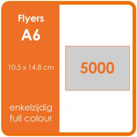 Formaat A6 (10,5 x 14,8 cm) 300gr, offset enkelzijdig full colour,  5.000 stuks.