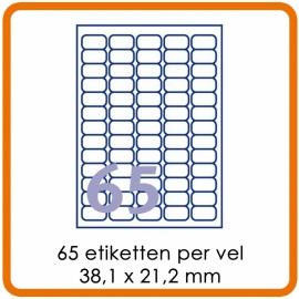 65 Etiketten per vel (38 x 21,2 mm)