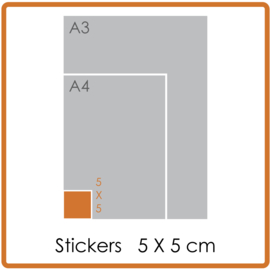 Outdoor Premium stickers, vierkant(5 x 5 cm), full colour, enkelzijdig bedrukt