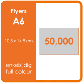 Formaat A6 (10,5 x 14,8 cm) 300gr, offset enkelzijdig full colour,  50.000 stuks.