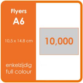 Formaat A6 (10,5 x 14,8 cm) 135gr, offset enkelzijdig full colour,  10.000 stuks.
