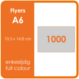 Formaat A6 (10,5 x 14,8 cm) 170gr, offset enkelzijdig full colour,  1.000 stuks.