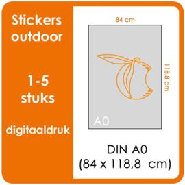 A0 Stickers outdoor - prijsgroep voor 1 t/m 5 stuks.   Print Formaat: 840mm x 1189mm.    (Prijs Per stuk)