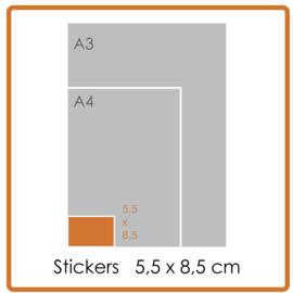 Koude- en warmtebestendige stickers, 5,5 X 8,5 cm, full colour, enkelzijdig bedrukt