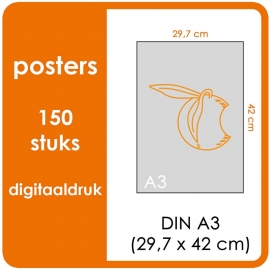 A3 Posters - prijs voor 150 stuks. Print Formaat: 420mm x 297mm.papier: DCP Wit 160 gm² (Prijs Per pack. Print in Full color)