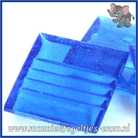Glasmozaiek tegeltjes - Doorzichtig - 2 x 2 cm - Enkele Kleuren - per 20 steentjes - Turquoise