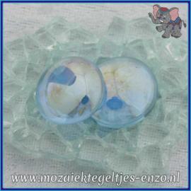 Glasmozaiek steentjes - Glasnuggets/Glasstenen Parelmoer - 18/22 mm - Enkele Kleuren - per 10 stuks - Blue Transparent Opalescent