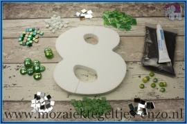 Mozaiek Kant & Klaar Pakket Piepschuim Huisnummer Groot - Cijfer 8 Groen