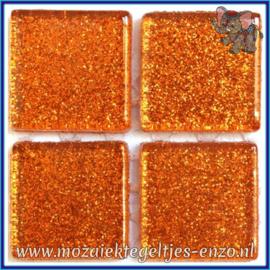 Glasmozaiek tegeltjes - Glitter - 2 x 2 cm - Enkele Kleuren - per 20 steentjes - Burnt Orange