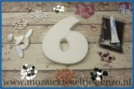 Mozaiek Kant & Klaar Pakket Piepschuim Huisnummer Groot - Cijfer 6 Roze